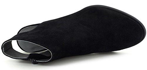 Bootie Stacked Blu Heel Chocolat Ankle Haaz Black Cone Women's wtdq0qO