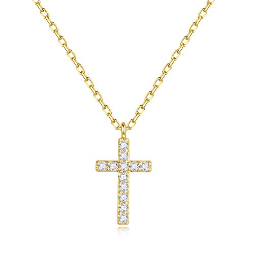 CZ Cross Necklace for Women Gifts - Gold Plated Sparkly CZ Cross Necklace for Women Girls, Dainty Cross Necklace Best Birthday Gifts Wedding Gifts Christian Gifts for Women Girls Engagement Gifts]()