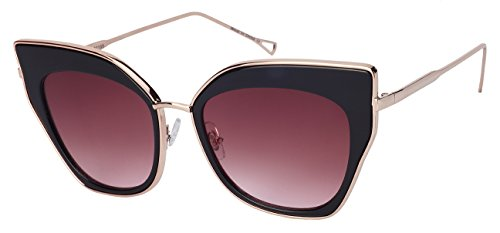 Edge I-Wear Women's Bold Cat Eye Sunnies with Flat Lens - Sunglasses Gold Rose Tinted