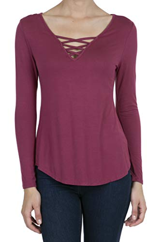 Top Cross Criss Knit (8053 Women's Casual Deep V-Neck Long Sleeve Criss Cross T-Shirt Blouse Tops Rose L)
