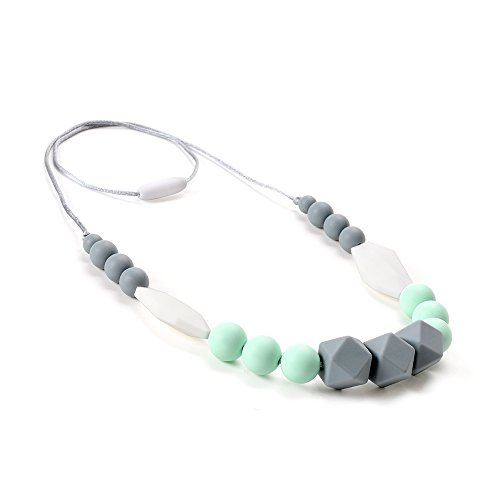 Lofca Teething Necklace Baby Silicone Teether Nursing Necklace for Mom Safe Toys for - Tooth Jewelry Necklace