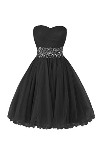 Ellames Sweetheart Homecoming Beading Short Prom Dresses Ball Gown Black US 14 Ball Gown Strapless Beading