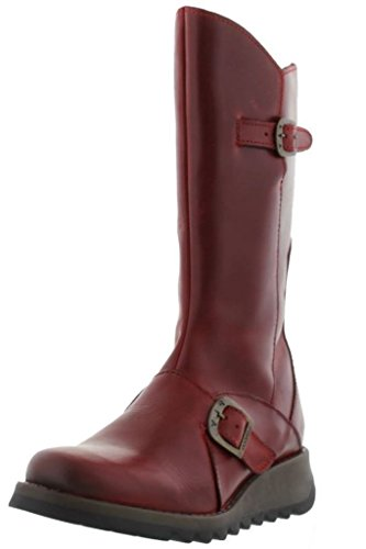 #Fly London Mes 2 Leather Womens Mid Calf Boots Red