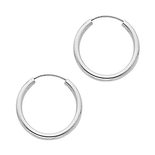 14K Solid White Gold Endless Loop Hoop Timeless Earrings 2 mm Gauge/Thickness Available in Multiple Diameters - Segment Septum Lip Nose Round Hoop Tragus Helix Cartilage (0.70 Inch)
