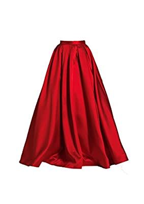 Diydress Women's High Waist Long Skirts A-line Satin Skirts With Pockets