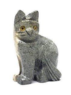 Cat Soapstone Animal Carving Charm Totem Figurine | 1.5