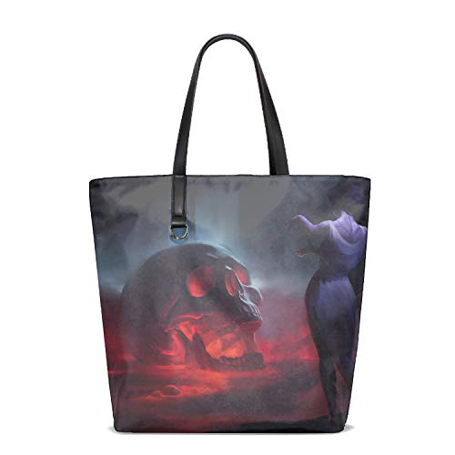 Washable Shopping Bag Reusable Grocery Bags Skulls Gothic Fantasy Girls Cloth Shopping ()
