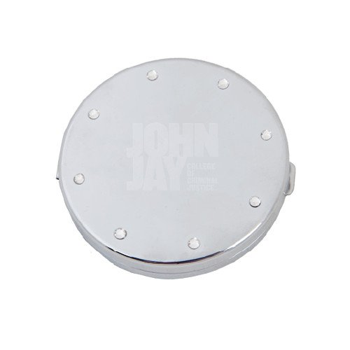 John Jay College Silver Bling Compact Mirror 'Official Logo Engraved'