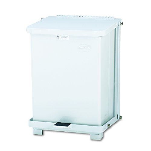 Rubbermaid Commercial ST7EWHPL Defenders Biohazard Step Can, Square, Steel, 7gal, White -