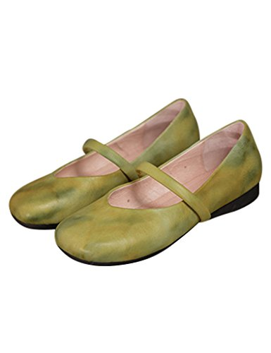 Youlee Mujer Zapatos planos de cuero hecho a mano de primavera Amarillo