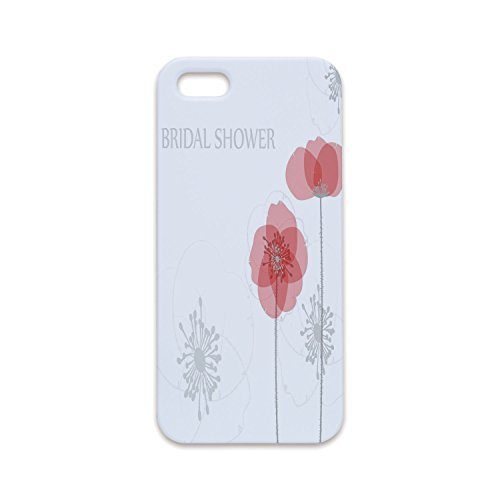 Printed Modern Poppies (IPrint iPhone6 Plus Antiskid Proof Shell,Bridal Shower Decorations,Modern Poppy Flower Buds Abstract Shadow Design Image,Light Grey and Salmon,Hard Plastic Phone Case)