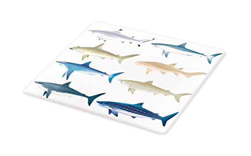 Lunarable Shark Cutting Board, Types of Angel Cow Hammerhead Sand Sharks Mammals Species Natural Nautical Graphic, Decorative Tempered Glass Cutting and Serving Board, Large Size, Blue Grey (Best Type Of Cutting Board)