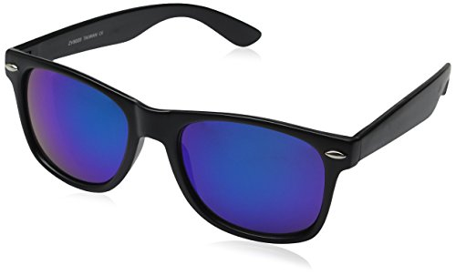 zeroUV ZV-8025-11 Retro Matte Black Horned Rim Flash Colored Lens Sunglasses, Black/dark blue, - Rim Dark