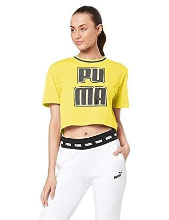 PUMA Women's Rebel Reload Crop TEE, Blazing Yellow, XS