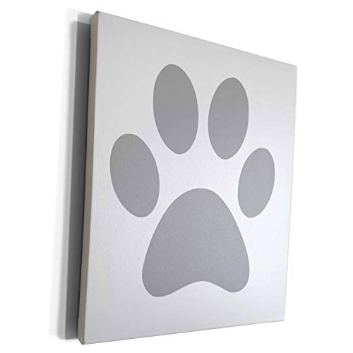 3dRose InspirationzStore Pet designs - Grey paw print on white - gray animal pawprint - cute cartoon animal footprint - dog cat foot print - Museum Grade Canvas Wrap (cw_161516_1)