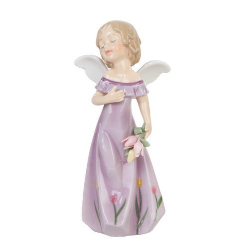 Pacific Giftware Tulip Floral Little Angel Girl Religious Statue Fine, Porcelain Figurine, 5.25