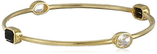 Sterling Silver with Yellow Gold Plating Jet and Clear Crystal Bangle Bracelet