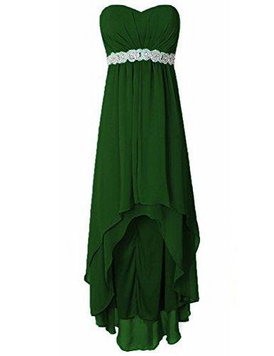 Perles De Paillettes Cdress Sans Bretelles Haut Bas Robes De Demoiselle D'honneur En Mousseline De Soie Bal Robes De Fête Dark_green