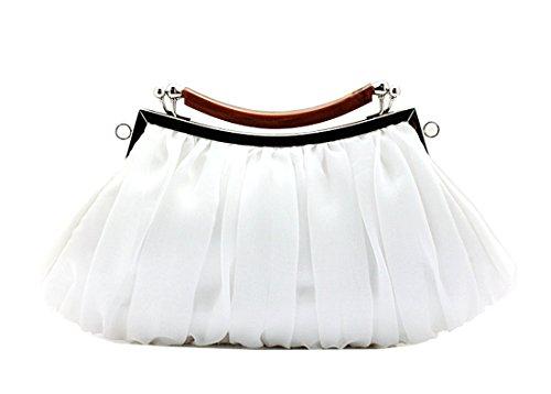KAXIDY Bolso de Embrague Flor Bolsos de Fiesta Bolsos de Boda Carteras de Mano Blanco