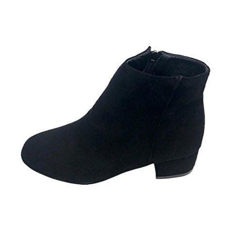 Rawdah Bottes Bottines Femmes Mid Heel Ankle Zipper Platform Chaussures Slope Martin Boots (39EU, Noir)