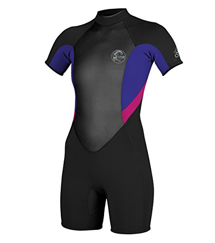 O'Neill Wetsuits Womens 2/1 mm Bahia Short Sleeve Spring Wetsuit, Black/Cobalt/Pink, 6