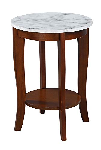 Birch Round End Table - Convenience Concepts 7106259WMES American Heritage Round End Table, White Faux Marble/Espresso