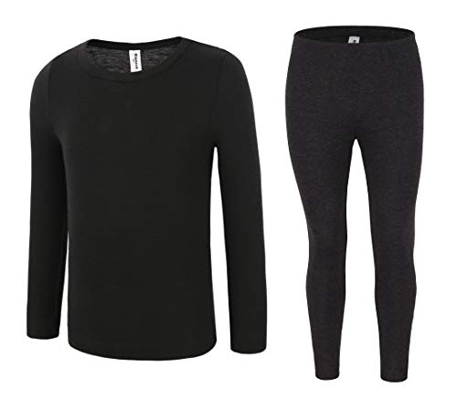 - Bienzoe Boy's High Tech Fiber Thermals Long Johns Tops & Pants Set 12/14 Black