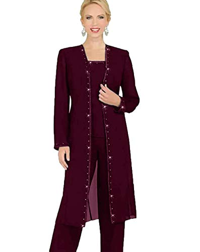 Mother Of The Bride Designer Suits - WZW Designer 3 Piece Chiffon Pant Suits Mother of The Bride Pant Suits Long Jacket Evening Party Burgundy