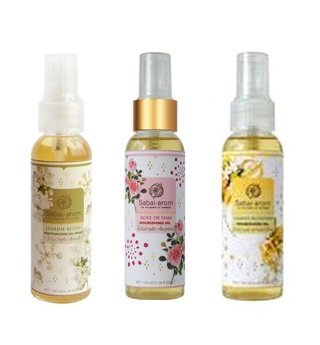 Sabai-arom Nourishing Oil Blossom Set. Rose De Siam, Siamese Blossoms, Jasmine Ritual. 100ml. Keep Your Skin Soft and Scented. (Foot Rituals Scrub)