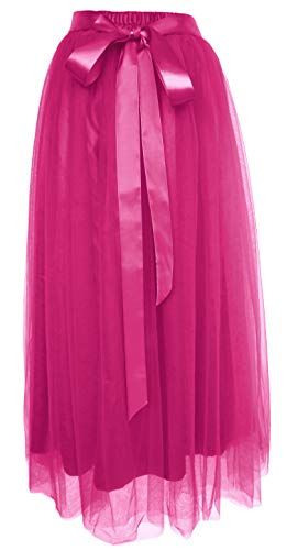 Dancina Women's Ankle Length Tutu Maxi A-line Long Tulle Skirt Regular (Size 2-18) Hotpink]()