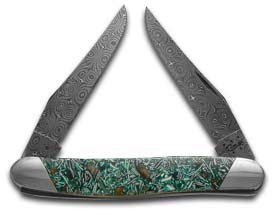 CASE XX Painted Pony Damascus Smooth Green Eggshell Resin Muskrat Pocket Knife Knives