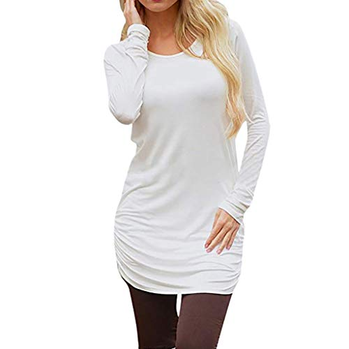 HULKAY Women's Casual Long Sleeve Slim Ruched Tunic T-Shirt Dress ()
