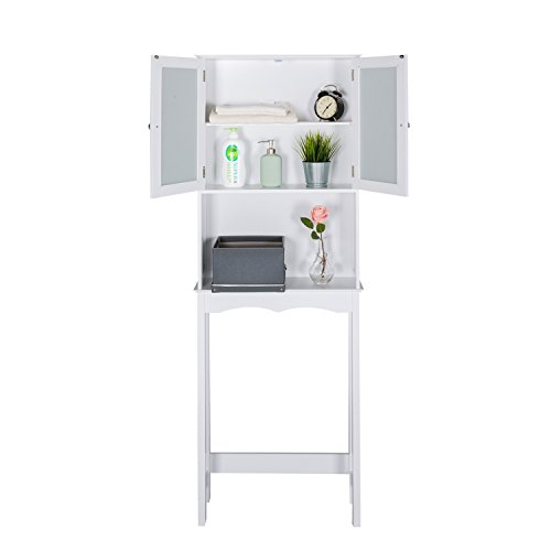 Kinbor 3 Shelf Over The Toilet Bathroom Space Saver, Cottage Collection Bathroom Spacesaver, White by Kinbor