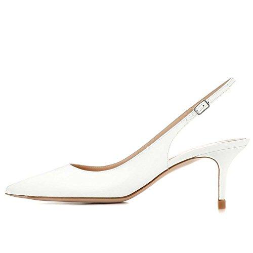 Kmeioo Kitten Heels Pumps, Pointed Toe Slingback Sandals Ankle Strap Low Heel Pumps Evening Party Wedding Shoes 6.5CM-White-(US (Slingback Wedding Pumps)