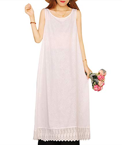 - YESNO Women Casual Loose Long Jacquard Flowy Tank Dress Wave Lace Hem EHB
