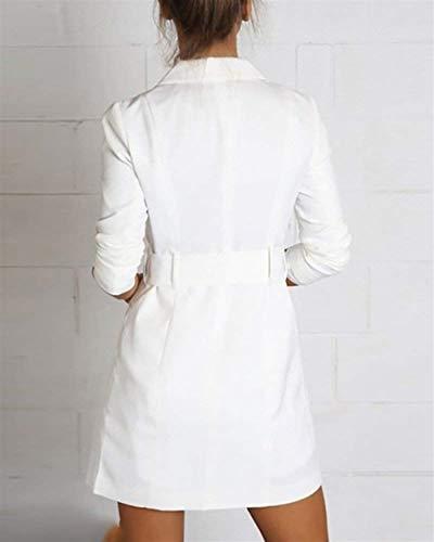avec Longue Legere Tous Longue Printemps Casual Les Blazer Revers Cardigan Mode Jours Blanc Ceinture Long Blazer Outerwear Coat Chic Femme Automne Manches Manteaux Mince 40aFqwp1