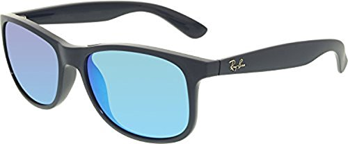 Ray-Ban Andy RB4202 Sunglasses Shiny Blue On Matte Top / Green Mirror Blue 55mm & Cleaning Kit - Ray Ban Rb4202