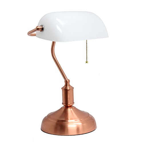 (Simple Designs Home LT3216-RGD Simple Designs Executive Desk White Rose Gold Banker's Lamp with Glass Shade,)