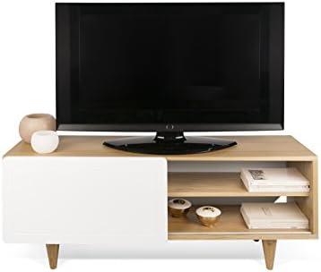TemaHome Nyla Mueble para la televisión, Madera,Colores Roble/Blanco, 120 x 34 x 50 cm: Amazon.es: Hogar