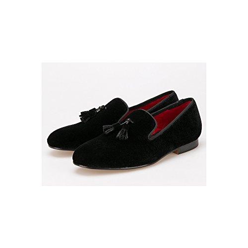 à Enfiler Velours Homme Frange De Chaussures Noir Mode Mocassins UnBnzTIqH