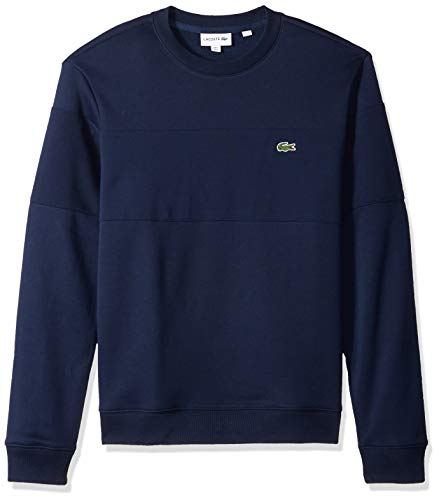 Lacoste Men's Crew Neck Colorblock Fleece Sweatshirt, Navy Blue, Large