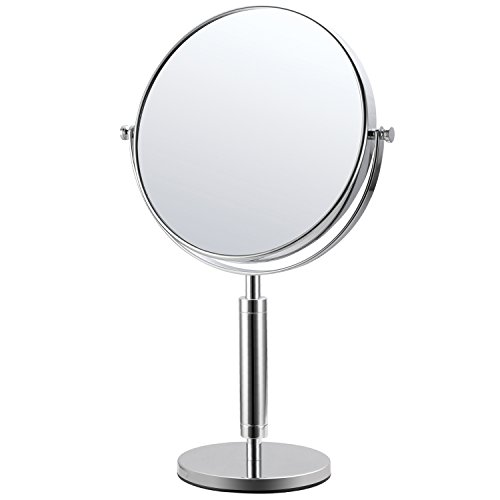Pedestal Counter (Mirko 8 Inch Double-Sided Swivel Countertop Vanity Makeup Mirror with 10x Magnification, 14.7-inch Height,Chrome Finish)