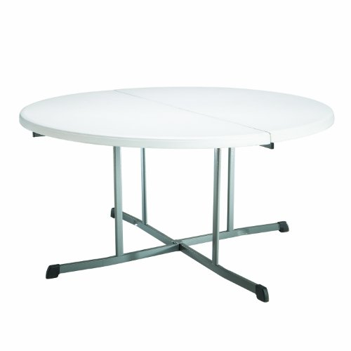 Lifetime 25402 Commercial Round Fold In Half Table, 5 Feet , White Granite ()