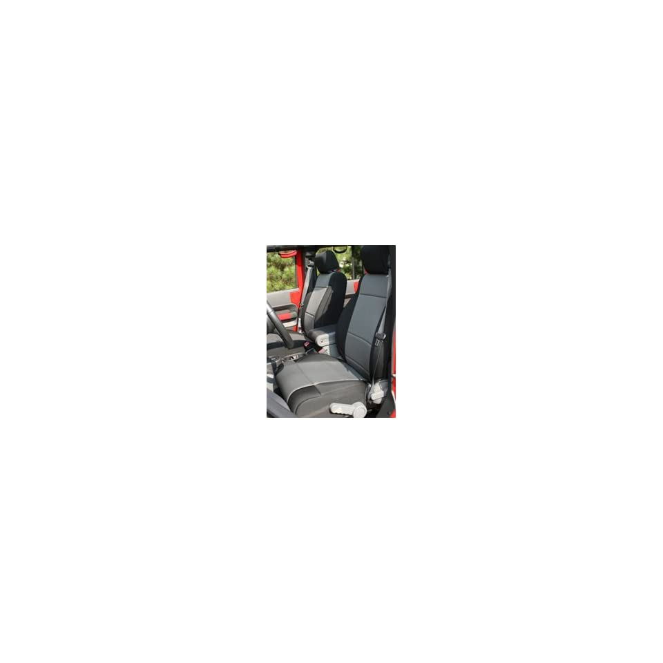 Jeep Wrangler JK Black/Gray Neoprene Front Seat Covers With ABS Flaps (2007 2009) Automotive