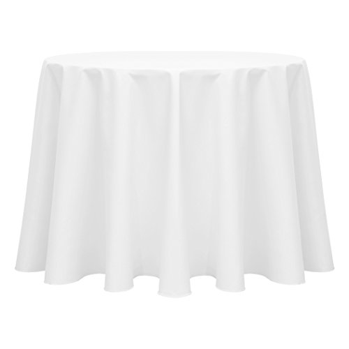 Ultimate Textile (2 Pack) Poly-cotton Twill 108-Inch Round Tablecloth - for Restaurant and Catering, Hotel or Home Dining use, White by Ultimate Textile