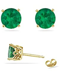 0.19-0.25 Cts of 3 mm AA Round Natural Emerald Scroll Stud Earrings in 18K Yellow Gold