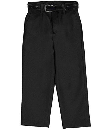 Vittorino Little Boys' Flat Front Belted Dress Pants - Boys Charcoal Gray Dress Pants