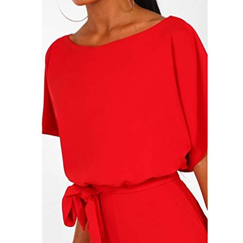 Jumpsuit Rojo Modaworld Mono Vestir Cinturón Elegante Mujer Playsuits Con Grandes Largo Monos Fiesta Corta Verano Clubwear Tallas De Señoras Manga zHxzrqOw4