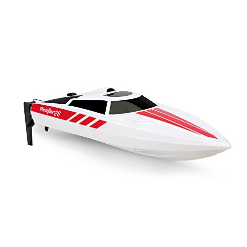 FunTech 18 MPH 2.4GHz High Speed Electric Fast RC Boat Remote Control Boat [White] - Freshwater - Pools Bathtubs Lakes-Best Gifts for Kids and Adults