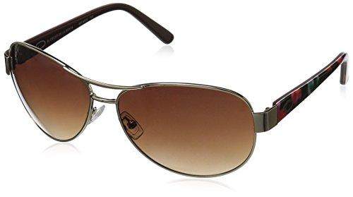 Oscar by Oscar De La Renta Women's Ssc4034 Aviator Sunglasses, Shiny Gold/Floral, 60 - De Renta Sunglasses La Oscar